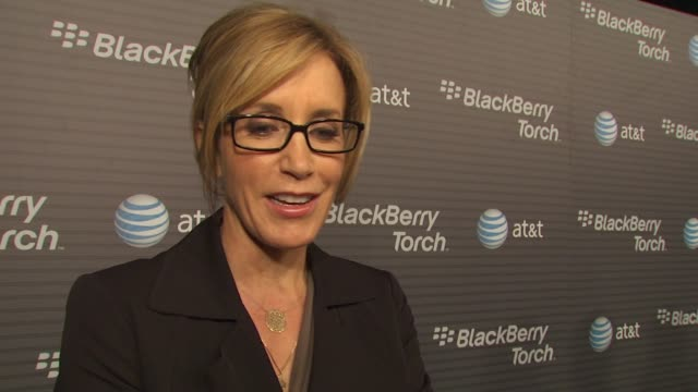 felicity huffman on how long she's been a blackberry fan her favorite thing about the new blackberry torch why she wanted to come out and be a part... - vanessa a. williams stock videos & royalty-free footage