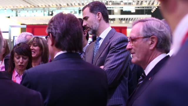 Felipe VI King of Spain visits the Vodafone Group Plc pavilion at the Mobile World Congress on the opening day in Barcelona Spain on Monday March 2...