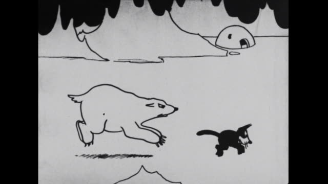 Felix angers a polar bear while fleeing from a seal