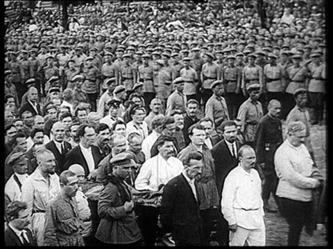 felix edmundovich dzerzhinsky's burial , procession in red square, coffin being carried behind mausoleum, stalin, rykov, bukharin / moscow, russia - 1926 stock videos & royalty-free footage