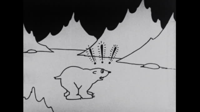 felix turns question marks into skis and flees from a polar bear - question mark stock videos & royalty-free footage