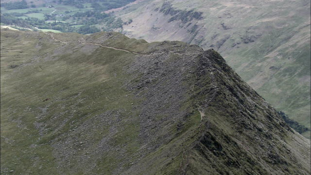 fell walkers on striding edge  - aerial view - england, cumbria, eden district, united kingdom - mobility walker stock videos and b-roll footage