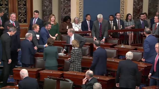 fellow senators embrace retiring georgia senator johnny isakson at his desk following his farewell address on the floor, leaving the senate in weeks... - senate stock videos & royalty-free footage