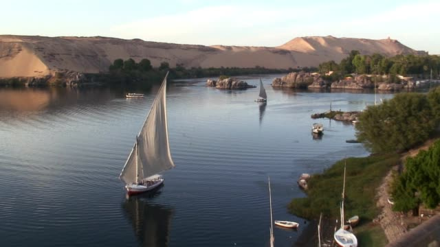a felucca sails on the nile river near aswan. - river nile stock videos & royalty-free footage