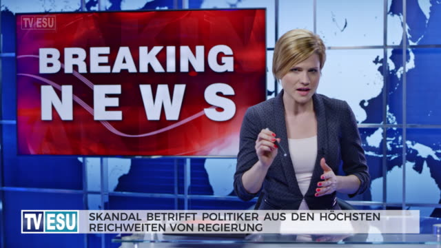 ld female anchor presenting breaking news about a scandal that involves highest level of politicians - breaking news stock videos & royalty-free footage