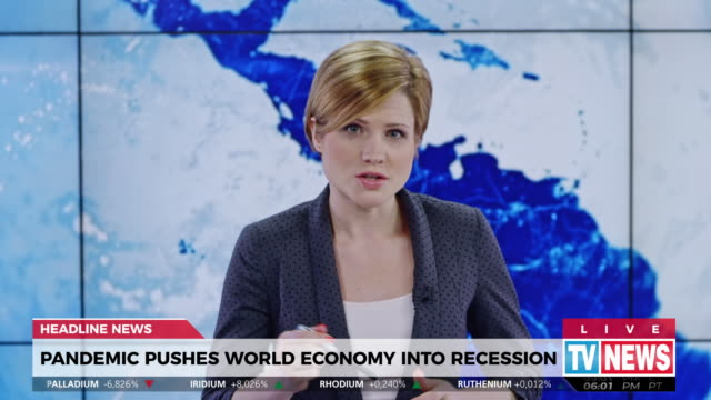 ld female anchor presenting breaking news about global recession - western script stock videos & royalty-free footage
