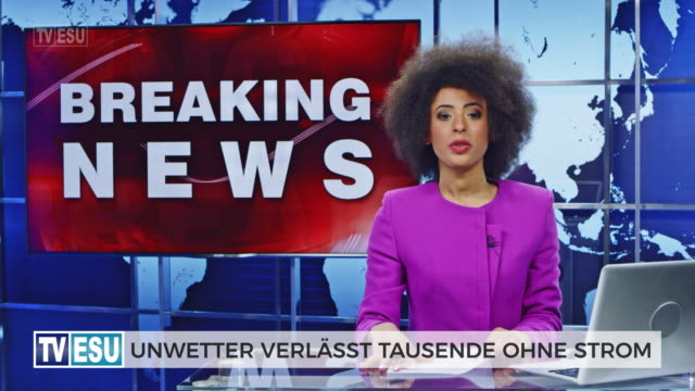 ld female anchor presenting breaking news about severe weather causing power outage - breaking news stock videos & royalty-free footage