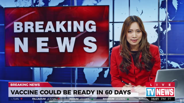 LD Female anchor presenting breaking news about vaccine accessibility