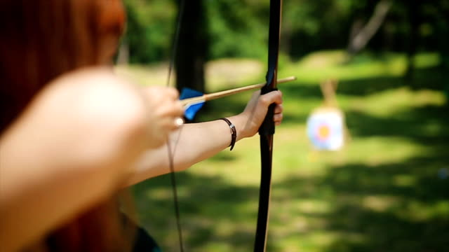 female archer in the fieald - longbow stock videos and b-roll footage