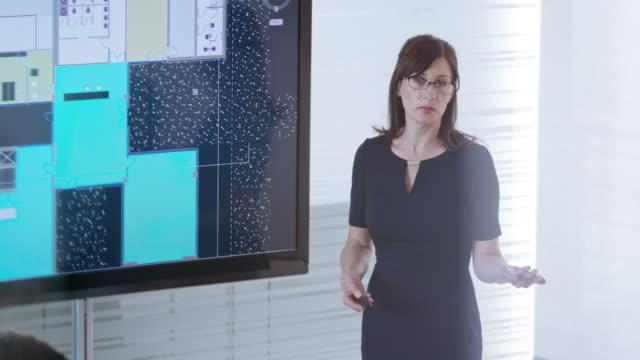 Vrouwelijke architect uitleg plan details getoond op groot scherm in de vergaderruimte