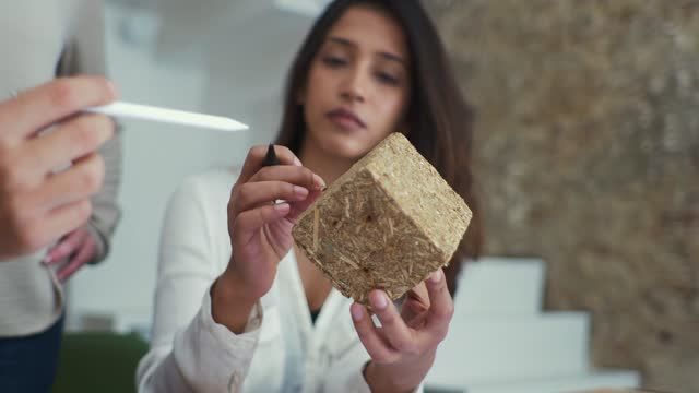 female architect holding block of wood during meeting - quality stock videos & royalty-free footage