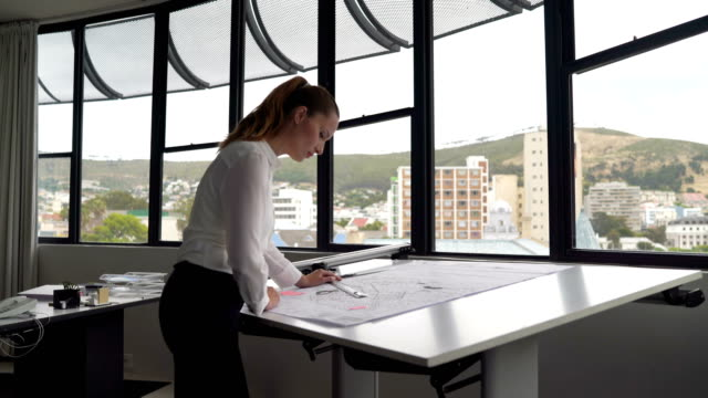 vídeos de stock e filmes b-roll de female architect reviewing blueprint by window - arquiteta