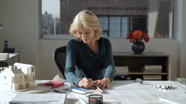 MS Female Architect working in office / New York City, New York, USA