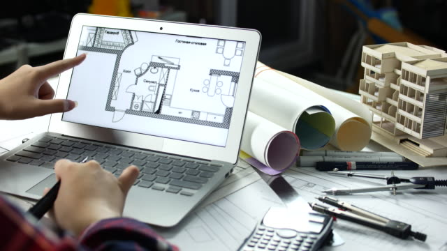female architect working with laptop at home office architecture, architect concept - architect model stock videos and b-roll footage