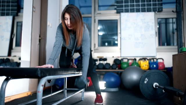 hündin im fitnessstudio - bizeps stock-videos und b-roll-filmmaterial