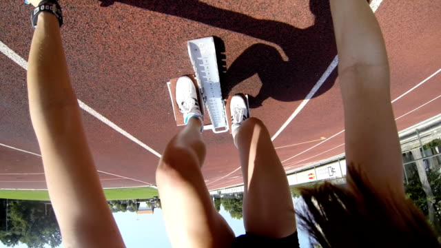 HD: Female Athlete Hurdling