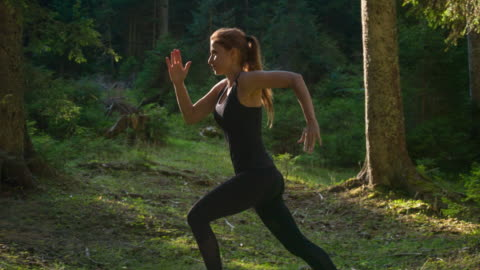 female athlete running in the woods - woodland stock videos & royalty-free footage