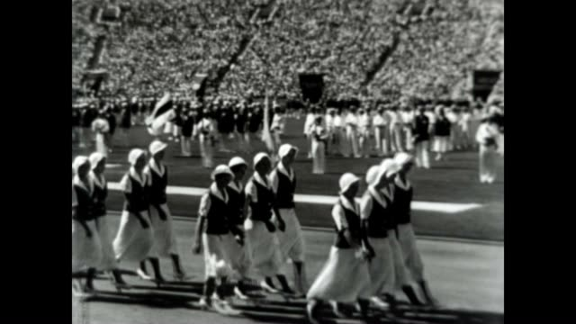 female athletes at the 1932 los angeles olympic games - opening ceremony stock videos & royalty-free footage