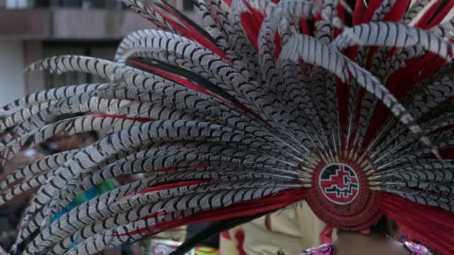 female aztec conchero dancer w/feathered headdress - headdress stock videos & royalty-free footage