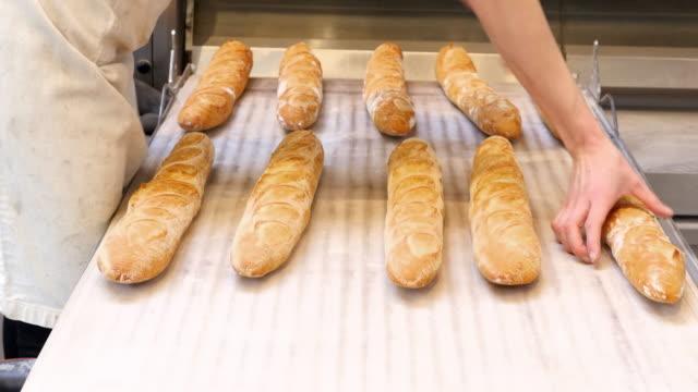 MS Female baker arranging baguettes on oven loader before baking
