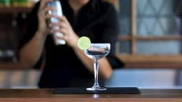 Female Bartender Making Cocktails
