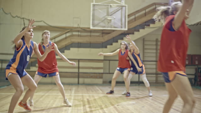 female basketball player catching ball from teammate and throwing it into hoop - basketball stock videos and b-roll footage