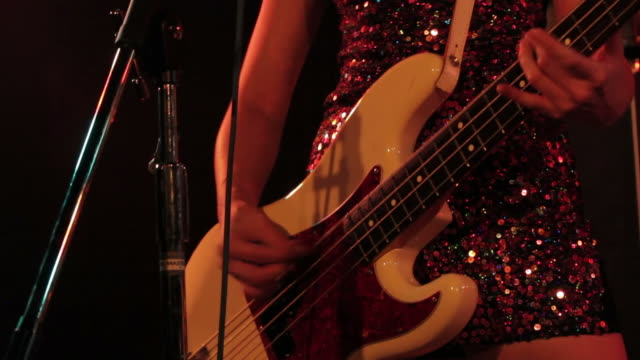 female bass guitarist. - pop musician stock videos & royalty-free footage