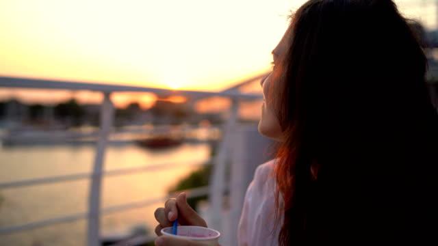 female beauty enjoying ice cream - spoon stock videos & royalty-free footage