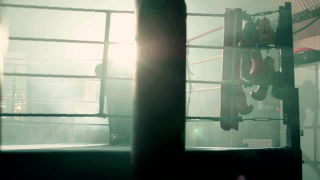 ls of female boxer entering the boxing ring. - boxing ring stock videos and b-roll footage