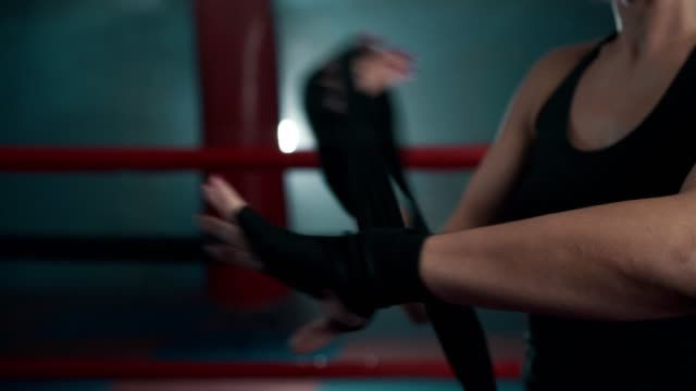 female boxer preparing for fight - kickboxing stock videos & royalty-free footage