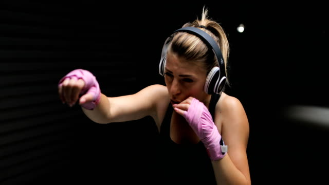 female boxer - headphones stock videos & royalty-free footage