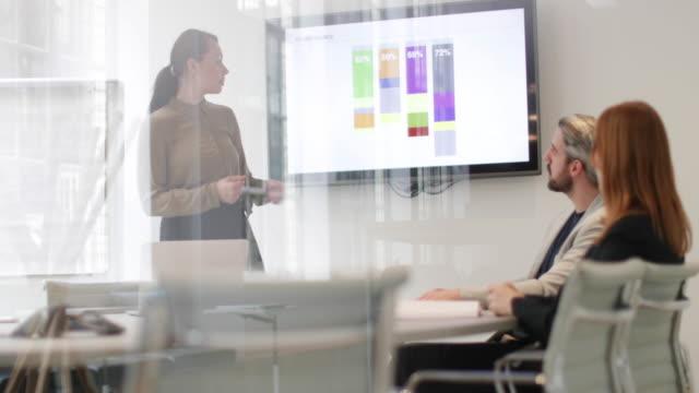 vidéos et rushes de female business executive giving a presentation - diagramme en bâtons