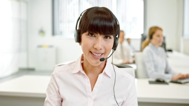 LD Female call center operator making a video call