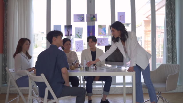 female ceo and young people having a meeting for ideas, startup business - 人間の鼻点の映像素材/bロール