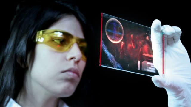vídeos y material grabado en eventos de stock de female chemist holding laboratory touch screen. - capilar vaso sanguíneo