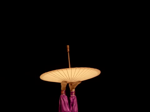 Female circus performer juggles and balances bamboo umbrella with feet while lying on her back, China