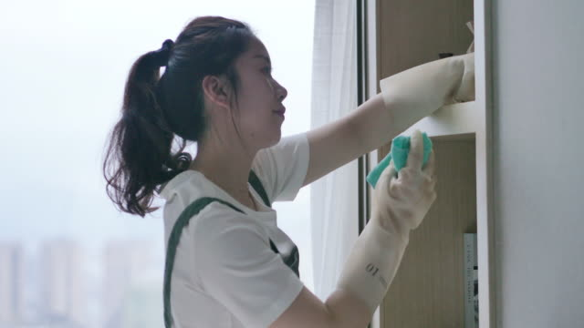 female cleaning house - housework stock videos & royalty-free footage