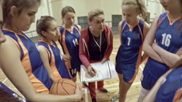 POV of female coach talking about basketball strategy to young athletes