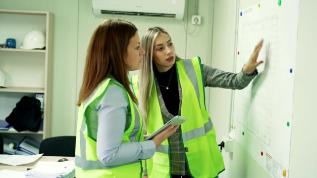 female construction engineers in the office - waistcoat stock videos & royalty-free footage