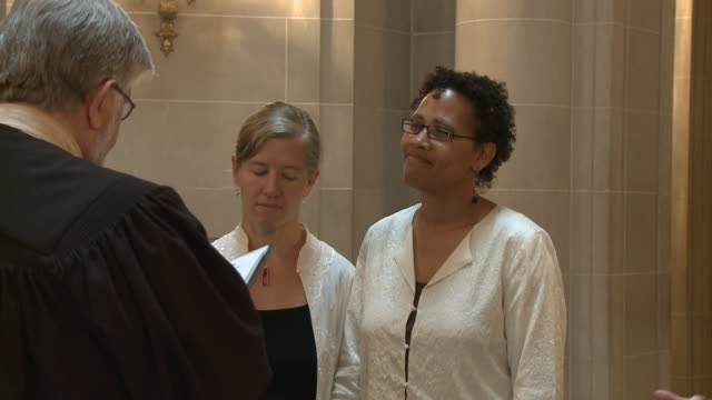 female couple marries at city hall/ san francisco, california/ audio - married stock videos & royalty-free footage