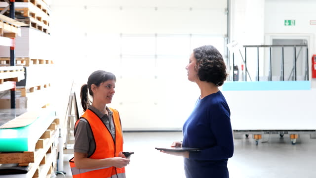 female coworkers examining inventory at warehouse - scienza e tecnologia video stock e b–roll