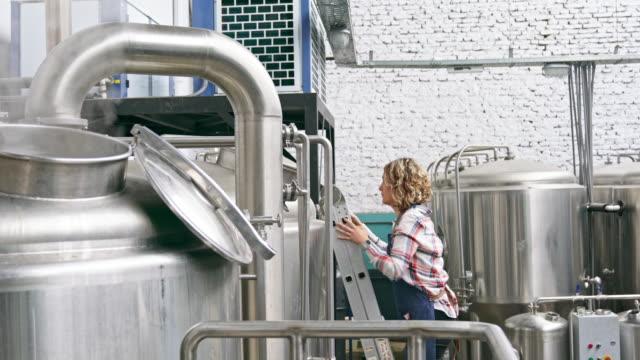 ラダーチェックビールの女性クラフトビール醸造所 - 醸造所点の映像素材/bロール