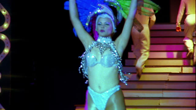 ms female dancer in costume performing on stage - showgirl stock videos and b-roll footage