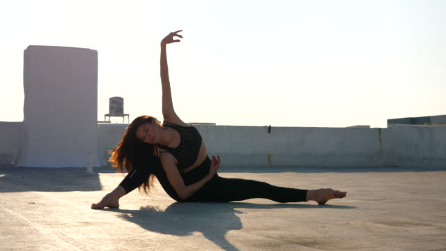 ms female dancer performing on rooftop - performer stock videos & royalty-free footage