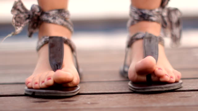 female dancing feet - sandal stock videos and b-roll footage