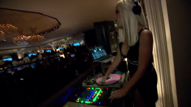 female dj spins records at the 75th annual golden globe awards postparty at the beverly hilton hotel in california - music or celebrities or fashion or film industry or film premiere or youth culture or novelty item or vacations stock videos & royalty-free footage