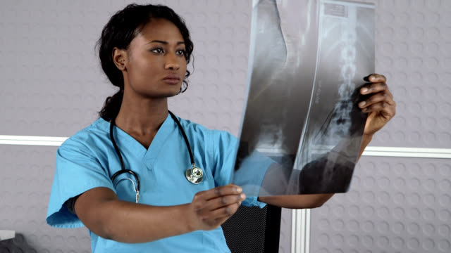 female doctor examining x-ray image - female doctor stock videos & royalty-free footage