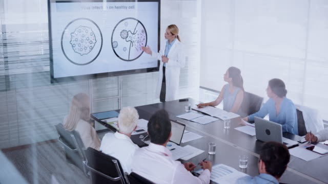 Female doctor giving an animated presentation of a virus entering the cell to her colleagues in the conference room