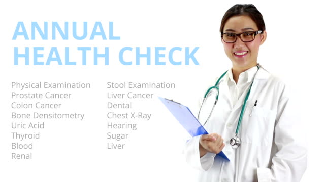 female doctor with annual health check word, medical concept - thyroid gland stock videos & royalty-free footage