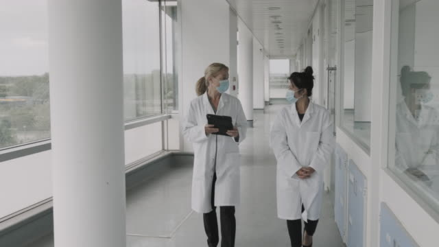 female doctors walking in hospital hallway and discussing test results on digital tablet computer technology, wearing surgical face mask during coronavirus pandemic - employee engagement stock videos & royalty-free footage